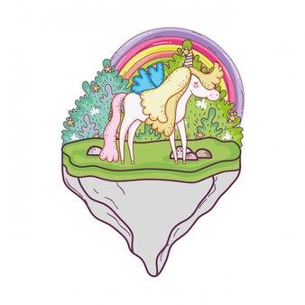 Licorne mignonne avec arc-en-ciel dans le paysage