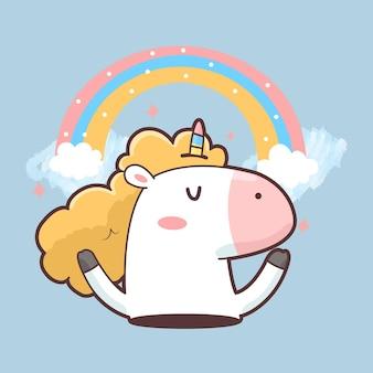 Licorne mignonne avec arc-en-ciel et nuages