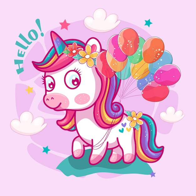 Licorne mignonne avec des ballons et fond rose