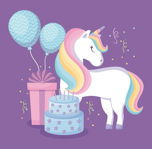 Licorne mignonne avec des ballons à l'hélium et des icônes