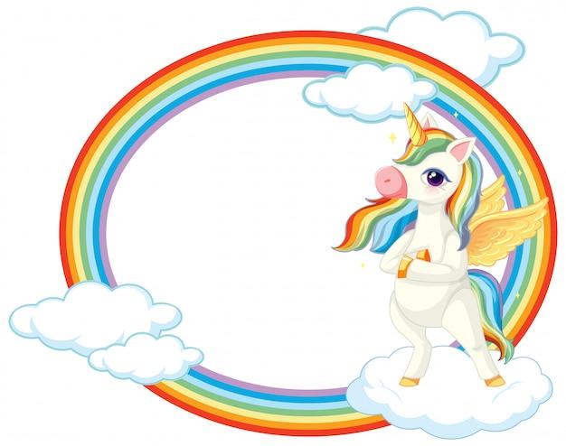 Licorne mignonne sur bannière de ciel