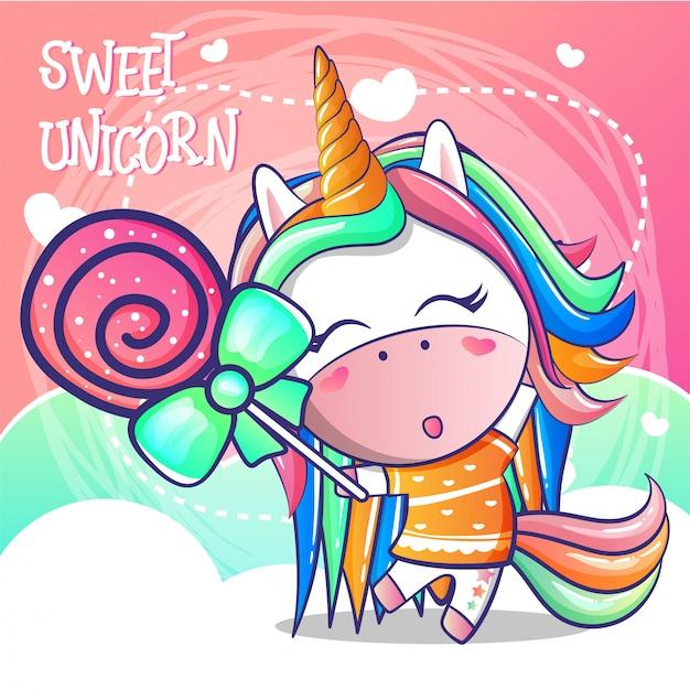 Licorne mignonne avec des bonbons sucrés