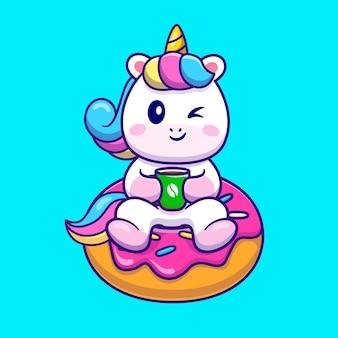 Licorne mignonne avec café et donut cartoon vector icon illustration. concept d'icône de nourriture animale isolé vecteur premium. style de dessin animé plat