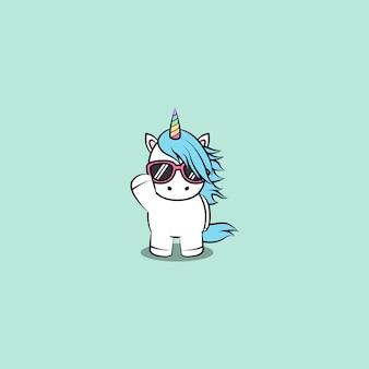 Licorne mignonne avec caricature de lunettes de soleil, illustration vectorielle