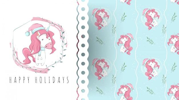 Licorne mignonne, carte de fête de naissance