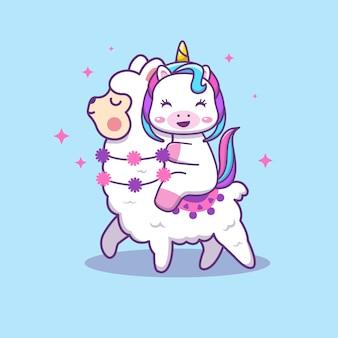 Licorne mignonne chevauchant une illustration de dessin animé de lama mignon