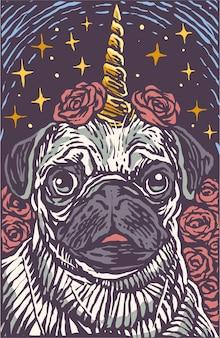 Licorne mignonne chien carlin graver cartoon style illustration