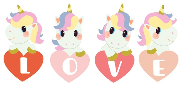 Licorne mignonne sur le coeur avec texte d'amour