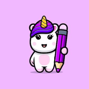 Licorne mignonne avec la conception de mascotte de couleur de crayon