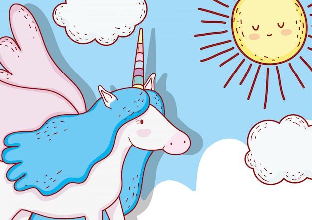 Licorne mignonne avec corne et ailes dans les nuages
