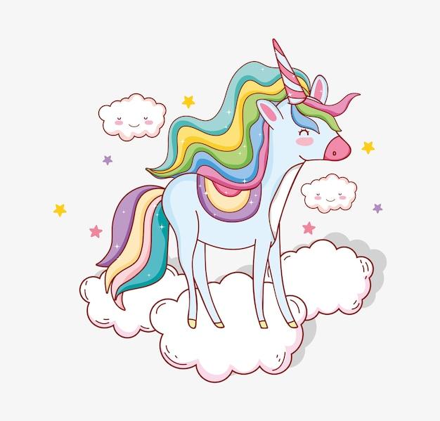 Licorne mignonne avec corne dans les nuages et les étoiles