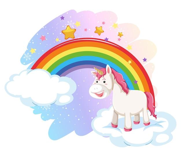 Licorne Mignonne Dans Le Ciel Pastel Avec Arc-en-ciel Vecteur gratuit