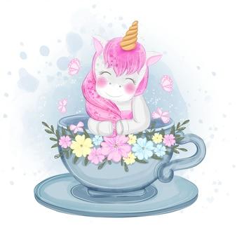 Licorne mignonne dans une illustration de tasse de thé