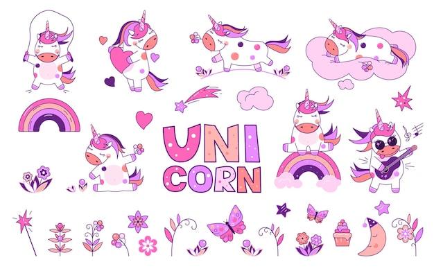 Licorne mignonne, dans le style de kawaii. une licorne dans différentes situations et des éléments supplémentaires pour créer votre design.