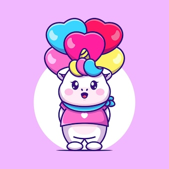 Licorne mignonne avec dessin animé ballon d'amour