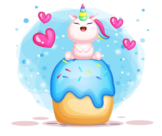 Licorne mignonne sur dessin animé illustration gâteau