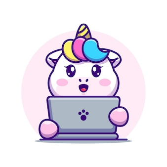 Licorne mignonne avec dessin animé pour ordinateur portable