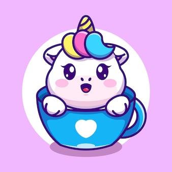 Licorne mignonne sur dessin animé de tasse de café