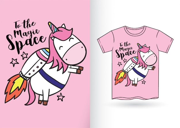 Licorne mignonne dessinée à la main pour t-shirt