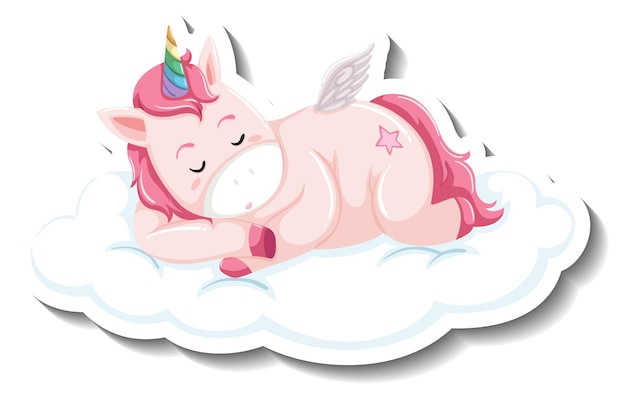 Licorne mignonne dormant sur le nuage sur le fond blanc