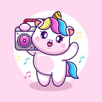 Licorne mignonne écoute de la musique avec dessin animé boombox