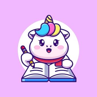 Licorne mignonne écrit sur livre avec dessin animé au crayon