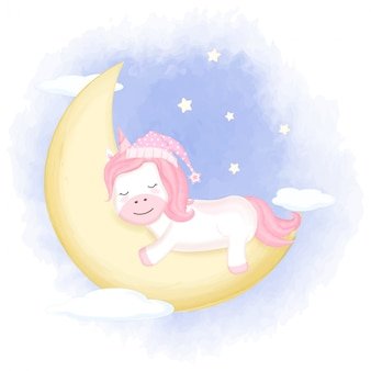 Licorne mignonne endormie sur croissant de lune