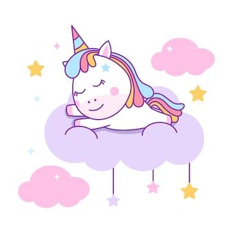 Licorne mignonne endormie