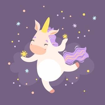 Licorne mignonne avec des étoiles