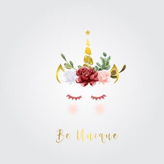 Licorne mignonne avec des fleurs et des feuilles