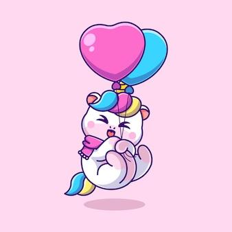 Licorne mignonne flottant avec dessin animé ballon