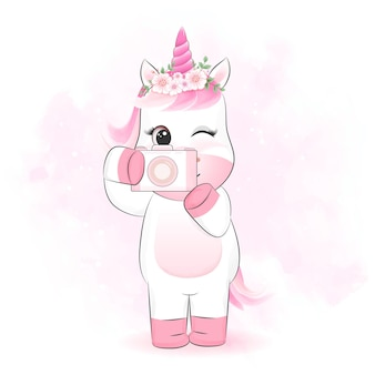 Licorne mignonne avec illustration de dessin animé de caméra