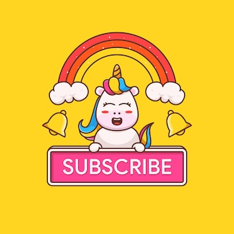 Licorne mignonne avec illustration du bouton d'abonnement