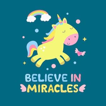 Licorne mignonne et illustration d'objets magiques. croyez en la carte des miracles, imprimez.