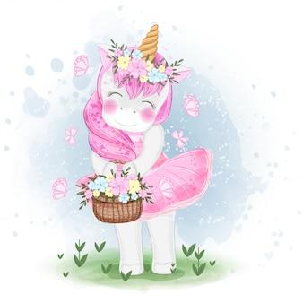 Licorne mignonne avec illustration de panier de fleurs
