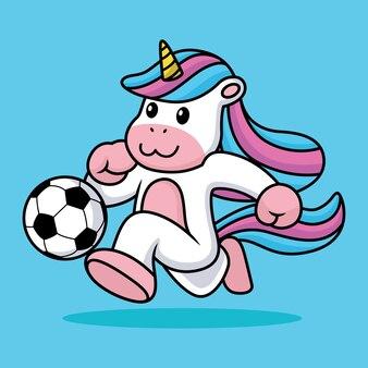 Licorne mignonne jouant au football illustration de dessin animé de football