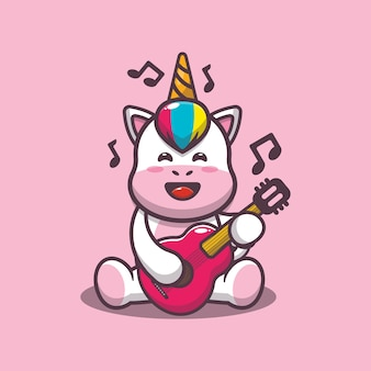 Licorne mignonne jouant de la guitare illustration vectorielle de dessin animé