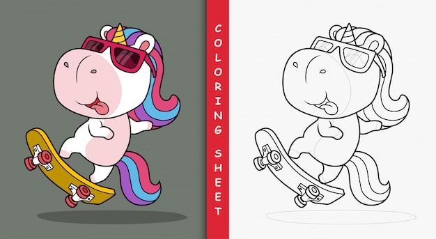 Licorne mignonne jouant à la planche à roulettes. feuille de coloriage.