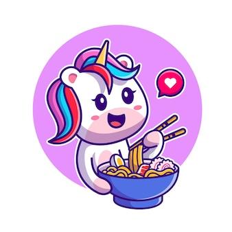 Licorne mignonne mangeant des nouilles avec illustration de dessin animé de baguettes. style de bande dessinée plat