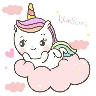 Licorne mignonne sur nuage