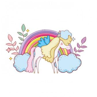 Licorne mignonne avec nuages et arc-en-ciel