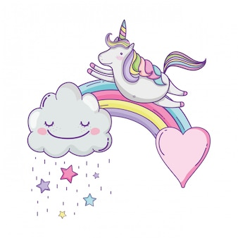 Licorne mignonne et nuages
