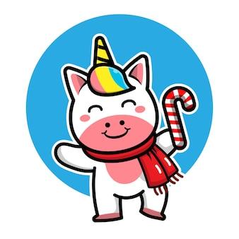 Licorne mignonne avec personnage de dessin animé de costume de noël illustration de concept de noël