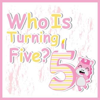 Une licorne mignonne en plus d'une bande dessinée de cinq bougies d'anniversaire, une carte postale d'anniversaire, un fond d'écran et une carte de voeux, un design de t-shirt pour les enfants