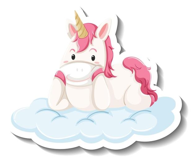 Licorne mignonne portant sur l'autocollant de dessin animé de nuage