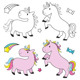 Licorne mignonne pour le livre de coloriage pour enfants
