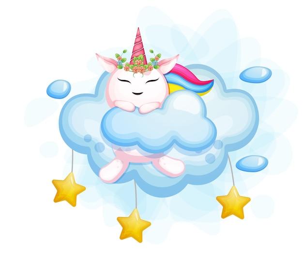 Licorne mignonne se cache derrière sur le nuage et l'étoile. vecteur premium