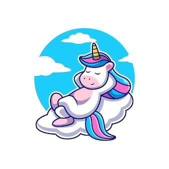 Licorne mignonne se détendre sur le nuage avec fond de ciel