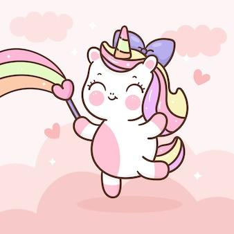 Licorne mignonne tenant la baguette magique d'amour avec arc-en-ciel, dessinés à la main kawaii