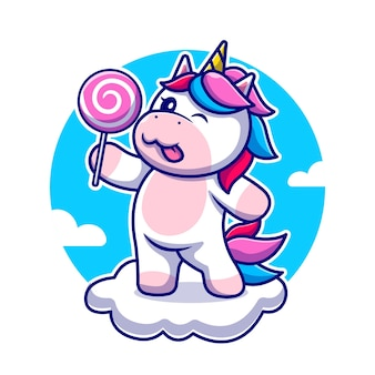 Licorne mignonne tenant des bonbons sur l'illustration de l'icône de dessin animé de nuage. icône de la nature animale isolée. style de bande dessinée plat